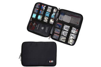 (Large, Black, 1 layer) - BUBM Travel Cable Organiser, Universal Electronics Accessories Storage Bag for Cord, Earphone, USB Flash Drive, Memory Card and More, Lightweight and Compact,Black