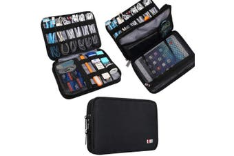 (Medium, Black, 2 layers) - BUBM Double Layer Electronic Accessories Organiser, Travel Gadget Bag for Cables, USB Flash Drive, Plug and More, Perfect Size Fits for iPad Mini (Medium, Black)