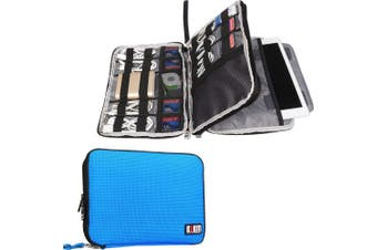 (Large, Blue, 2 layers) - BUBM Double Layer Electronics Organiser/Travel Gadget Bag for Cables, Memory Cards, Flash Hard Drive and More, Fit for iPad or Tablet(up to 25cm )-Large, Blue