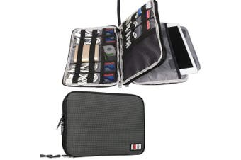 (Large, Gray, 2 layers) - BUBM Double Layer Electronics Organiser/Travel Gadget Bag for Cables, Memory Cards, Flash Hard Drive and More, Fit for iPad or Tablet(up to 25cm )-Large, Grey