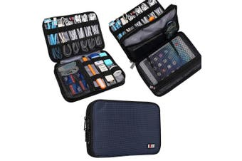 (Medium, Dark Blue, 2 layers) - BUBM Double Layer Electronic Accessories Organiser, Travel Gadget Bag for Cables, USB Flash Drive, Plug and More, Perfect Size Fits for iPad Mini (Medium, Dark Blue)