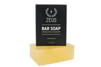 (SANDALWOOD) - ZEUS XL Bar Soap for Body and Face with Shea Butter & Jojoba Oil, 300ml (Sandalwood)