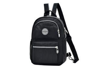 (Black) - Fashion Backpack Waterproof Nylon Rucksack School College Bookbag Shoulder Purse