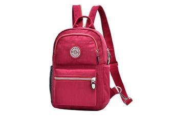 (Wine) - Fashion Backpack Waterproof Nylon Rucksack School College Bookbag Shoulder Purse