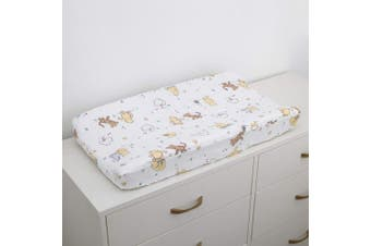 (Winnie the Pooh) - Disney Winnie The Pooh Classic Pooh 100% Cotton Quilted Changing Pad Cover, Ivory/Butter/Aqua/Orange
