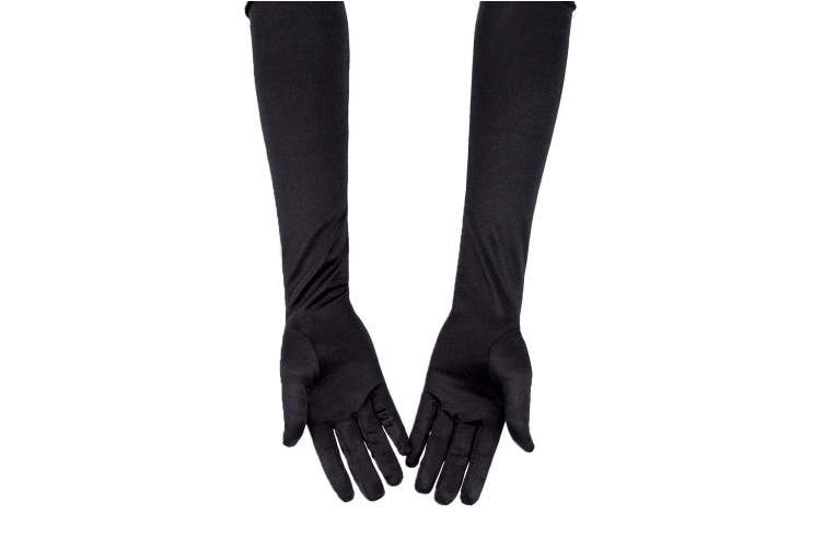 (Black) - SAVITA Long Black Elbow Satin Gloves 50cm Stretchy 1920s Opera Gloves Evening Party Dance Gloves for Women