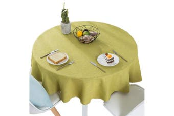(160cm  Round, Yellow) - Bettery Home Cotton Linen Solid Colour Tablecloth Round Simple Style Table Cover for Kitchen Dining Tabletop Linen Decor (Yellow, Round - 160cm )