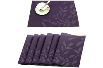 (PVC Material, Purple - Flower) - Tennove Placemats Set of 6, Washable Placemats PVC Cross Weave Woven Vinyl Table Mats for Kitchen Dining Table Decoration (Purple - Flower)