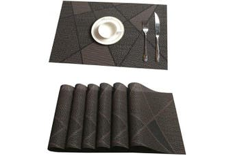 (PVC Material, Brown-sqg) - Tennove Placemats Set of 6, Washable Placemats PVC Cross Weave Woven Vinyl Table Mats for Kitchen Dining Table Decoration(Brown-SQG)