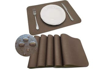 (PU Material, Pu-brown) - Tennove Placemats Set of 6, PU Leather Table Mats Stain Resistant Washable Placemats for Kitchen Dining Table (PU-Brown)