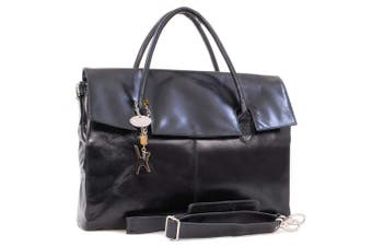 (Black) - Catwalk Collection Handbags - Ladies Extra Large Leather Briefcase/Shoulder/Cross Body Bag - Women's Organiser Work Bag - Laptop Bag With Padded Compartment - HELENA
