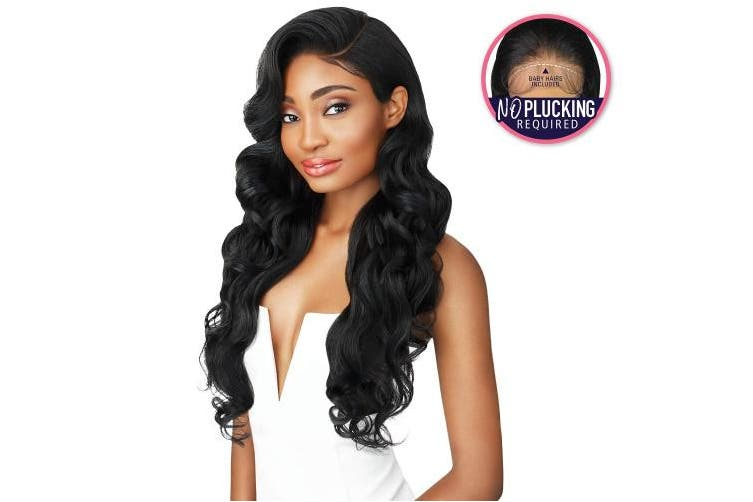(1B Off Black) - Outre Lace Front Perfect hairline Fully Hand-Tied 33cm x 15cm Lace Wig LANA (1B)