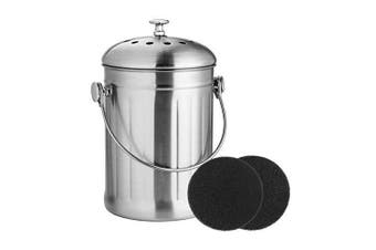 ( 4.9l) - Compost Bin, Stainless Steel Indoor Compost Bucket for Kitchen Countertop Odourless Compost Pail for Kitchen Food Waste with A Carrying Handle and 2 Charcoal Filter 4.9l Easy to Clean