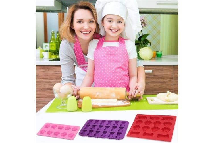 3 Pcs Silicone Candy Chocolate Moulds, FineGood Fish & Puppy Paw & Bone Shaped Ice Cube Trays Cookies Baking Pans for Making Frozen Dog Treats Soap Bars - Red, Purple, Pink