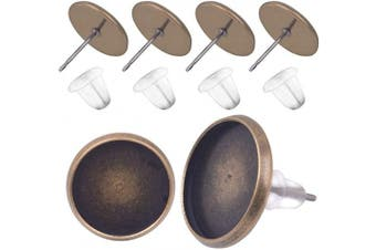 (12mm earring blanks, bronze stud earrings and clear earring backs) - BronaGrand 50 Pieces Stainless Steel Stud Vintage Bronze Earring Cabochon Setting Post Cup for 12mm and 50 Pieces Clear Rubber Earring Safety Backs