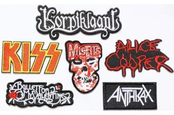 Set Band Patch of Iron on Patches#21,KISS Rock Band Patch, Alice Cooper Patch, Korpiklaani Patch, Misfits Patch, Bullet for My Valentine Patch, Anthrax Heavy Metal by BossBee