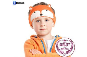(Z-Fox-Wireless) - Kids Wireless Bluetooth Headphones, Hi-Fi Stereo Ultra-Thin Speakers with Built-in Mic, Soft Cute Fleece Headband Patch for Sleep,Game,Phone,School,Travel and Home-Fox