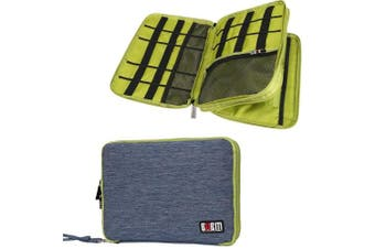 (Large, Blue and Green) - BUBM Travel Cable Organiser, Universal Electronic Accessories Bag Gear Storage for Cord, USB Flash Drive, Earphone and More, Perfect Size for iPad (Large, Blue and Green)