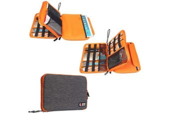 (Large, Grey and Orange) - BUBM Travel Cable Organiser, Universal Electronic Accessories Bag Gear Storage for Cord, USB Flash Drive, Earphone and More, Perfect Size for iPad (Large, Grey and Orange)
