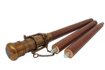 The New Antique Store Telescope Folding Walking Stick Antique Finish Wood Cane Replica Steampunk