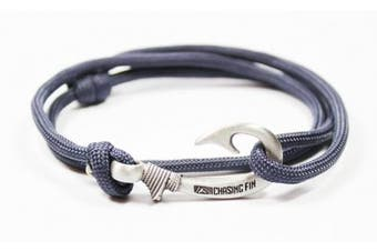 (Navy) - Chasing Fin Adjustable Fish Hook Bracelet - 550 Military Paracord with Fish Hook Pendant - Also Worn as Necklace or Ankle Bracelet