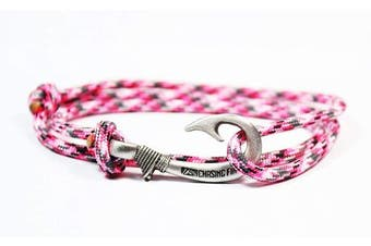 (Pink Camo) - Chasing Fin Adjustable Fish Hook Bracelet - 550 Military Paracord with Fish Hook Pendant - Also Worn as Necklace or Ankle Bracelet