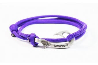 (Purple) - Chasing Fin Adjustable Fish Hook Bracelet - 550 Military Paracord with Fish Hook Pendant - Also Worn as Necklace or Ankle Bracelet