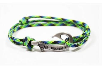 (Aquatica) - Chasing Fin Adjustable Fish Hook Bracelet - 550 Military Paracord with Fish Hook Pendant - Also Worn as Necklace or Ankle Bracelet