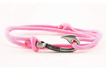(Pink) - Chasing Fin Adjustable Fish Hook Bracelet - 550 Military Paracord with Fish Hook Pendant - Also Worn as Necklace or Ankle Bracelet