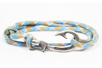 (Carolina Beach) - Chasing Fin Adjustable Fish Hook Bracelet - 550 Military Paracord with Fish Hook Pendant - Also Worn as Necklace or Ankle Bracelet
