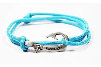 (Turquoise) - Chasing Fin Adjustable Fish Hook Bracelet - 550 Military Paracord with Fish Hook Pendant - Also Worn as Necklace or Ankle Bracelet