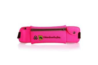 (Pink) - Lightweight Running Belt PU Coated Water Resistant Travel Wallet Phone Belt - Ideal Money Belt for Women Men & Kids for Carrying Valuables & Essentials. Adjustable & Reflective.