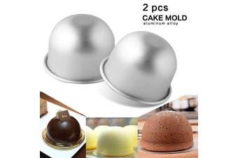 (2Pcs Medium Size) - 2Pcs Internal Diameter 85mmX65mm Height Deep Half Round Cake Mould
