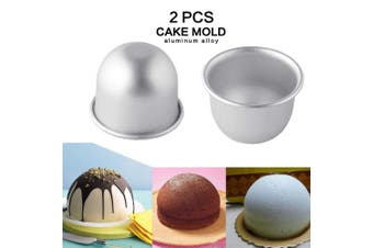 (2Pcs Small Size) - 2Pcs Internal Diameter 7cmX5.8cm Height Deep Half Round Cake Mould
