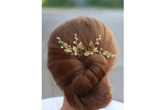 Deniferymakeup 3 Pcs Gold Wedding Headpiece Comb Art Deco Hair Accessories Bridal Hair Pin Gold Ivory Bridal Head Piecel Comb Prom Leaf Bridal Head Piece