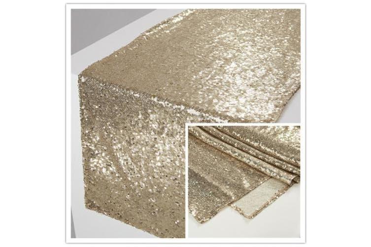 (33cm  x 180cm , Light Gold) - Zdada Light Gold 33cm x 180cm Christmas Dining Room Table Runner Sparkly Table Linens