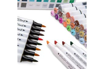 Bianyo Permanent Dual Tip Brush Marker Pen -Soft Brush & Broad Tip- Art Professional Drawing Set for Artist, Adults, Kids Colouring by Bianyo (36 Colour)