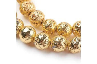 (10mm, Gold) - Beadthoven 5Strands Electroplated Natural Lava Bead 10mm Rock Round Golden Plated Stone Bead Charms for Jewellery Making Women & Men's Bracelets Handmade Accessories Finding Supplies