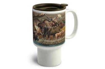 (Bull Moose) - American Expedition CTMG-305 Stoneware Travel Mug, Moose Collage, Multi-Colour