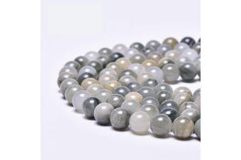 """(10mm, Gray Green Grass Jade) - Asingeloo Natural Grey Green Grass Jade Gemstones Beads for Jewellery Making Round Loose Spacer Stone Beads 10mm 15"""" a Strand Gems Stone Beads for DIY Bracelets Necklace"""