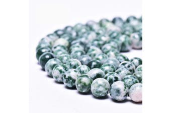"""(10mm, Green Dot Stone) - Asingeloo Natural Green Dot Gemstones Beads for Jewellery Making Round Loose Spacer Stone Beads 10mm 15"""" a Strand Gems Stone Beads for DIY Bracelets Necklace"""