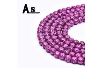 "(6mm, Purple Metallic Lava) - Asingeloo Natural Metallic Titanium Coated Lava Rock Volcanic Stone Beads for Jewellery Making Round Loose Spacer Beads 6mm Purple Gemstones 15"" a Strand"