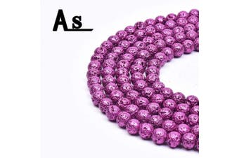 """Asingeloo Natural Metallic Titanium Coated Lava Rock Volcanic Stone Beads for Jewellery Making Round Loose Spacer Beads 10mm Purple Gemstones 15"""" a Strand"""