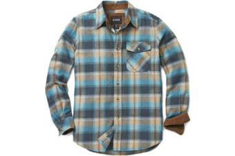 (Large, B-HOF110-OCS) - CQR Men's Flannel Long Sleeved Button-Up Plaid 100% Cotton Brushed Shirt HOF110