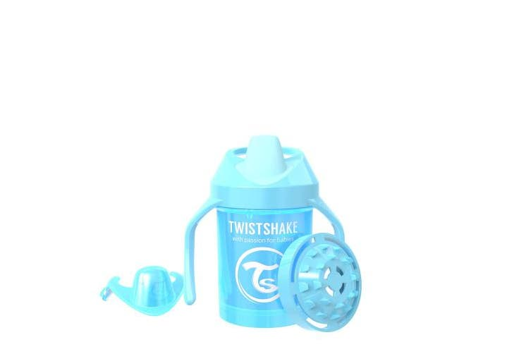 (Pearl Blue) - Twistshake Mini Cup 230ml/8oz, Plastic Spill-Proof Cup for 4+m Baby or Kid (Pearl Blue)