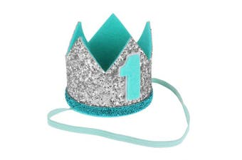 (Silver&mint Green Number 1) - Agoky Baby Boys Girls Glittery Birthday Party Crown Hat Headband with Elastic Side Band Silver & Mint Green Number 1 One_Size