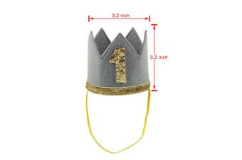 (Gray Number 1) - Agoky Baby Boys Girls Glittery Birthday Party Crown Hat Headband with Elastic Side Band Grey Number 1 One_Size