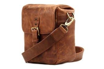 (Brown) - MegaGear Genuine Leather Camera Messenger Bag for Mirrorless, Instant and DSLR Cameras