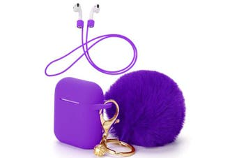 (Earphone Case with Pompom Keychain, Purple) - OOTSR Protective Case Cover with Cute Pompom Ball Keychain Compatible for Apple AirPods Charging Case, Full Protective Silicone Shell and Anti-lost Strap For Apple AirPods As (Purple)
