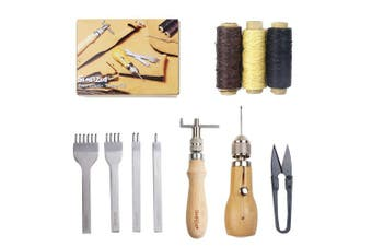 (10pcs) - Leather Sewing Tools SIMPZIA Leather Hand Stitcher Sewing Awl Kit, Leather Tools and Supplies with Leather Stitching Awl Set, Adjustable Stitching Groover, Prong Punch for Leather Craft